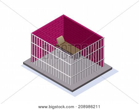 Prison or jail isometric 3d vector illustration