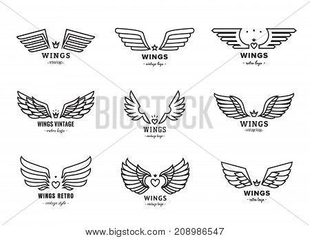 Wings outline black logo vector set. Vintage design.