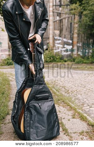 urban musician concert practice guitar performer concept