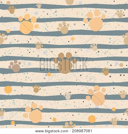 Cute seamless pattern with hand drawn paws