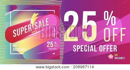 Super Sale 25 Discount Bright Rectangular Poster Format And Flyer. Template For Design Advertising A