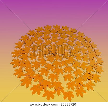 Autumn impression 3D illustration. Fall leaves on gradient color background. Collection.