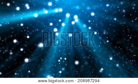 Blue abstract underwater fantasy background. Defocused white particles with blue rays of light. Depth of field settings. 3D rendering.