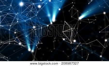Blue abstract technology, science and engineering background. White lines and nodes plexus structure with blue rays of light. Depth of field settings. 3D rendering.