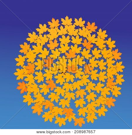 Autumn impression 3D illustration on blue sky background. Collection.