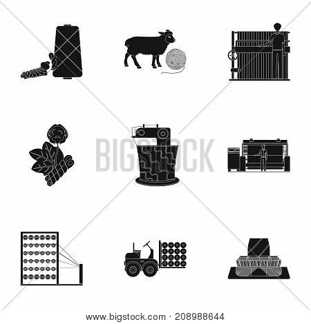 Machine, equipment, lift and other  icon in black style. Inventory, textiles, industry icons in set collection.
