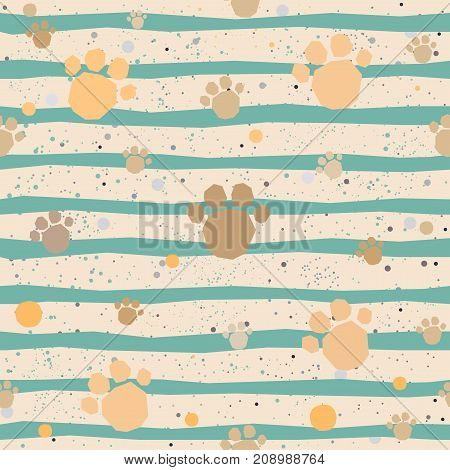 Cute seamless pattern with hand drawn paws. Vector Illustration