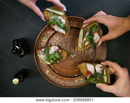 Restaurant friends group bruschetta appetizer food concept