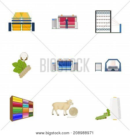 Machine, equipment, lift and other  icon in cartoon style. Inventory, textiles, industry icons in set collection.