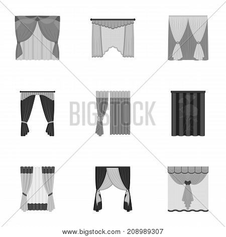 Textiles, curtains, drapes, and other  icon in monochrome style. Car, hand, furniture icons in set collection