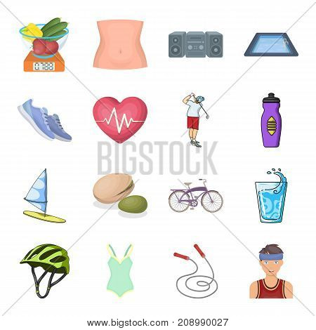 Diet and active rest and other  icon in cartoon style.Training and vitamin complex icons in set collection.