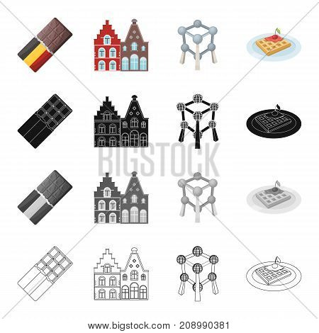Attributes, tourism, entertainment, and other  icon in cartoon style. Restaurant, country, Belgium icons in set collection