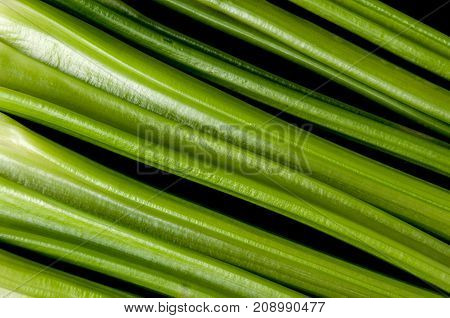 Background of green fresh petioled а celery