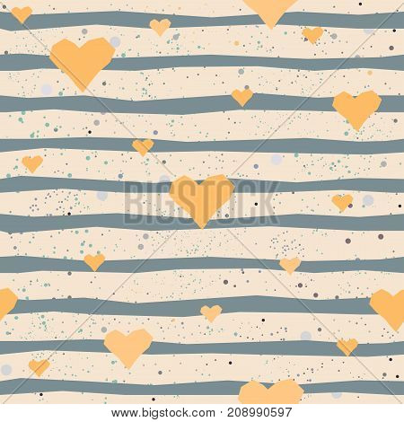 Cute seamless pattern with hand drawn golden hearts and blue stripes on beige background.
