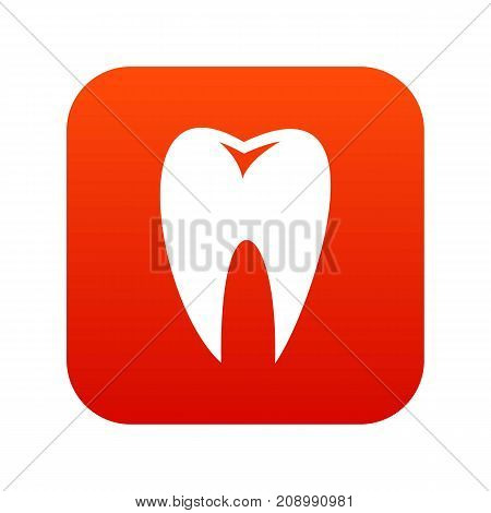 Tooth icon digital red for any design isolated on white vector illustration