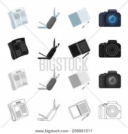Detective news in the newspaper, folding knife, notebook and pen, camera. Detective and Agent set collection icons in cartoon black monochrome outline style vector symbol stock isometric illustration .