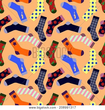 Seamless pattern with Socks isolated on background. Flat design Vector Illustration Eps10