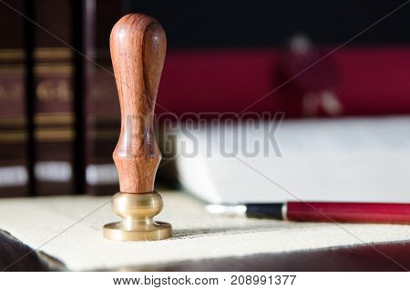 Law, Attorney, Notary Public Stamp And Pen On Desk