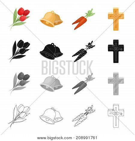 Tulips, the symbol of Easter, bell, carrot, golden cross. Easter set collection icons in cartoon black monochrome outline style vector symbol stock isometric illustration .