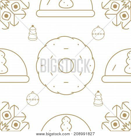 Seamless pattern which includes such Christmas design elements like ball, cookie, snowflake and christmas tree