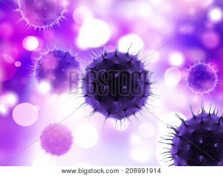 3D render of a medical background with virus cells