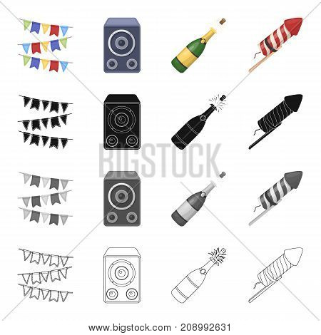 Celebration, flags, decorations and other  icon in cartoon style.Attributes, anniversary, holiday, icons in set collection