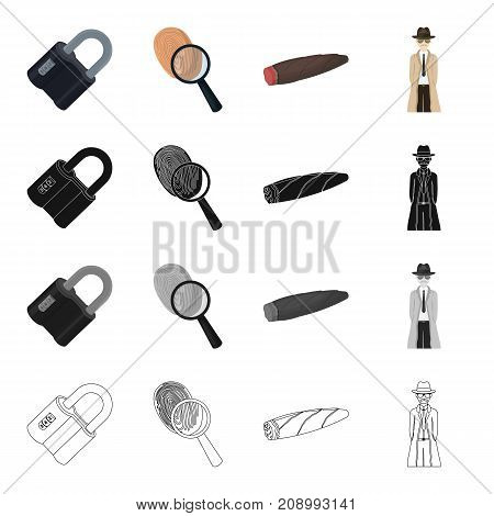 Deduction, crime, robbery and other  icon in cartoon style.Lock, metal, hinged, icons in set collection