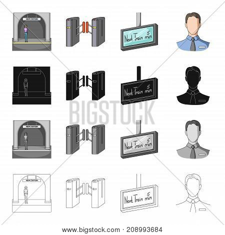 Metropolitan, stop, man, and other  icon in cartoon style.Underground, fast, subway icons in set collection