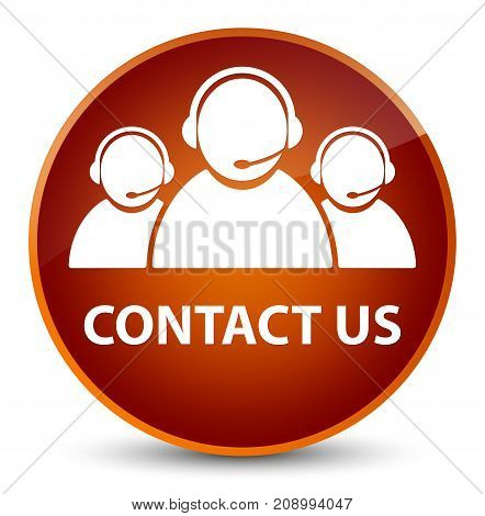 Contact Us (customer Care Team Icon) Elegant Brown Round Button