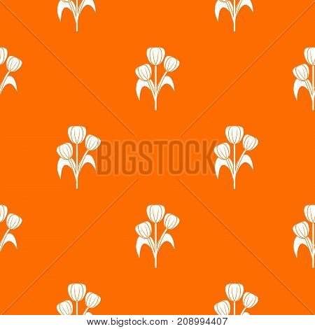Flowers pattern repeat seamless in orange color for any design. Vector geometric illustration