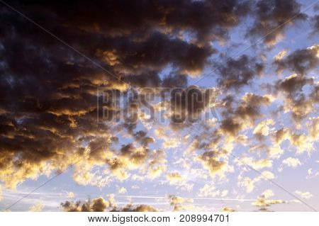 colorful sky and clouds at sunset. Photo landscape outdoors.