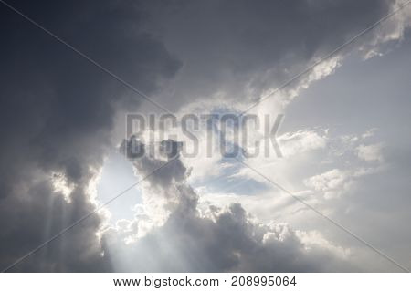 photographed close-up of a cloud on a cloudy sky. Small depth of field