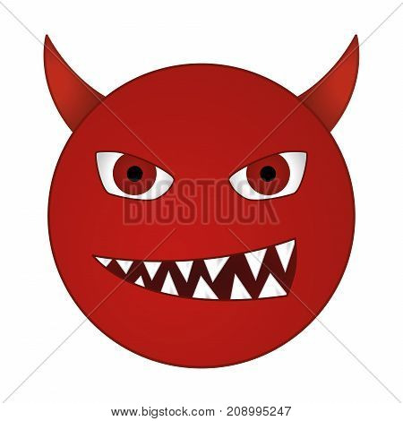 smiling devil emoticon / grinning red demon smiley - vector emoji