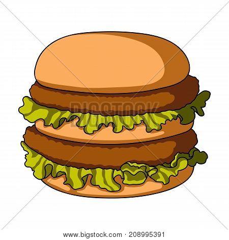 Hamburger, single icon in cartoon style.Hamburger vector symbol stock illustration .