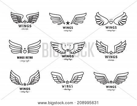 Wings outline black logo vector set. Vintage design.