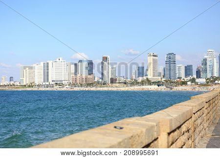 View of Tel Aviv from the seaside embankment