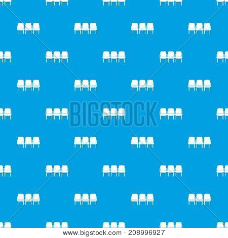 Chairs in the departure hall at airport pattern repeat seamless in blue color for any design. Vector geometric illustration