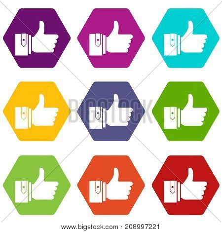 Thumbs up icon set many color hexahedron isolated on white vector illustration
