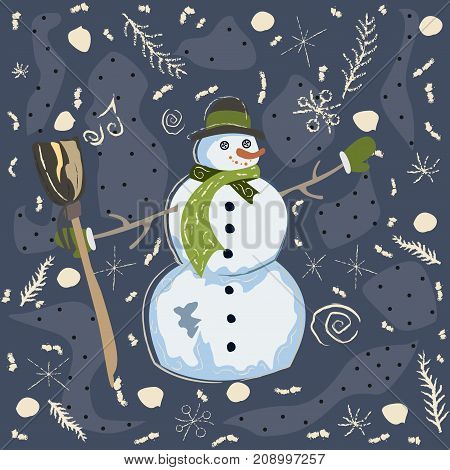 Cute Character of Snowman in Winter Attire. Vector Illustration