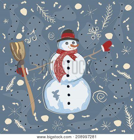 Cute Snowman in Winter Garment. Vector Illustration