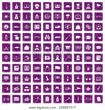 100 police icons set in grunge style purple color isolated on white background vector illustration
