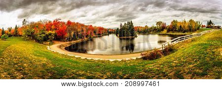 A lake during Autumn Centennial Park in New Brunswick, Canada