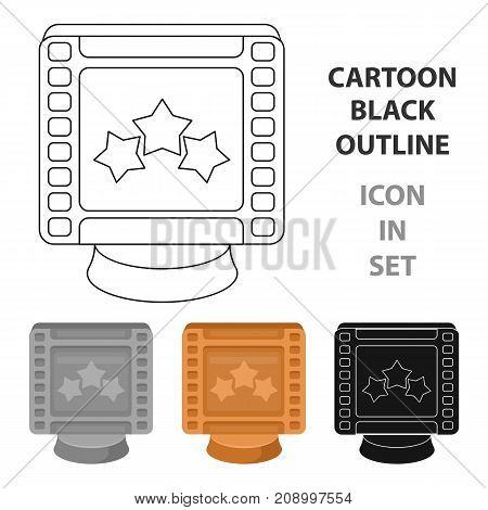 Award in the form of a video tape for best actor.Movie awards single icon in cartoon style vector symbol stock web illustration.