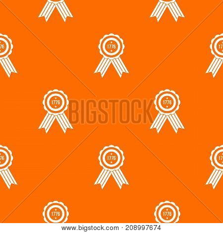 American emblem pattern repeat seamless in orange color for any design. Vector geometric illustration