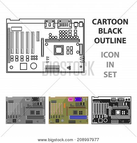 Motherboard icon in cartoon style isolated on white background. Personal computer symbol vector illustration.