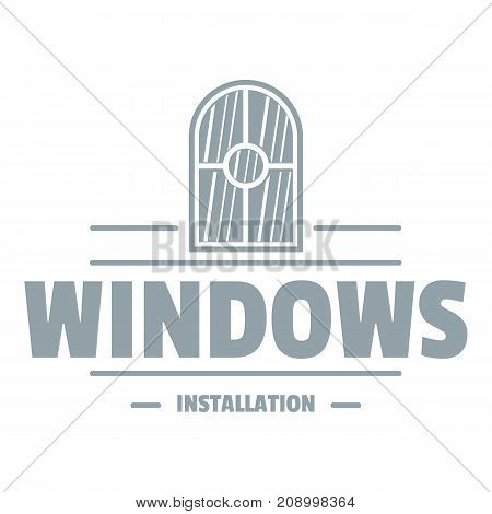 Window installiation logo. Gray monochrome illustration of window installiation vector logo for web
