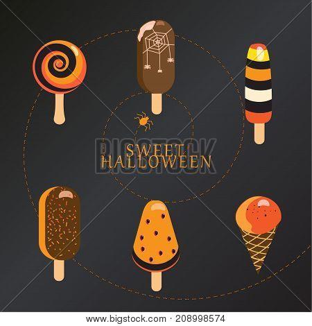 Halloween ice cream symbols and icons set. Vector illustration black background