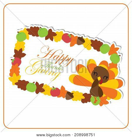 Cute turkey girl and maples leaves frame vector cartoon illustration for thanksgiving's day card design, wallpaper and greeting card