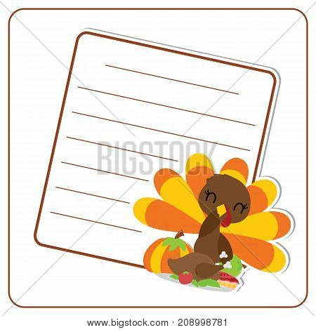Cute turkey girl, pumpkin, roasted turkey and apple pie frame vector cartoon illustration for thanksgiving's day card design, wallpaper and greeting card