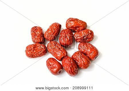 Chinese Red Jujube on White Background. Jujube is also called Chinese date and often used as traditional Chinese medicine.